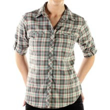 ExOfficio Trailing Off Macro Plaid Shirt - Long Sleeve (For Women) in Seaglass - Closeouts