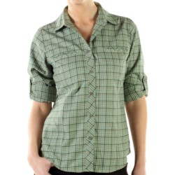 ExOfficio Trailing Off Micro Plaid Shirt - Long Sleeve (For Women) in Seaglass