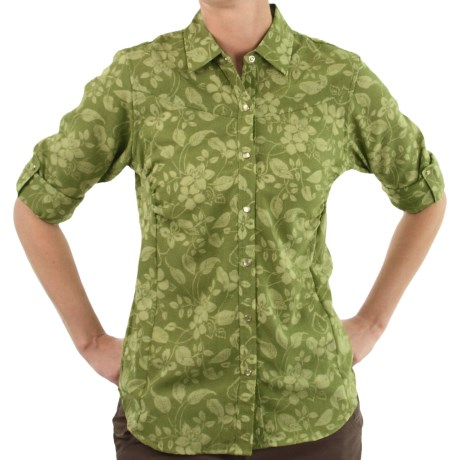 ExOfficio Trifera Flora Shirt - Long Sleeve (For Women) in Light Jade