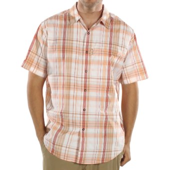ExOfficio Tripr Macro Plaid Shirt - UPF 30, Short Sleeve (For Men) in Coral