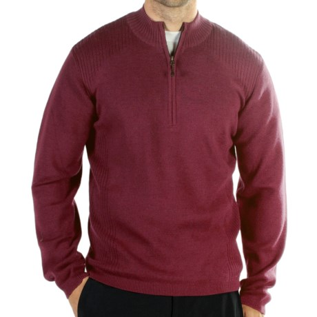 ExOfficio Venture Sweater - Merino Wool, Zip Neck (For Men) in Wine