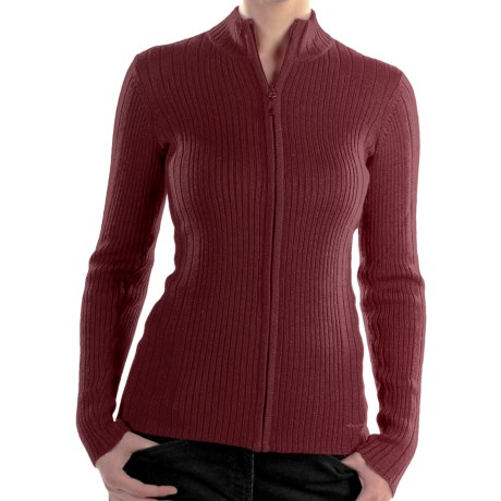 ExOfficio Venture Wool Cardigan Sweater - Full Zip (For Women) in Wine