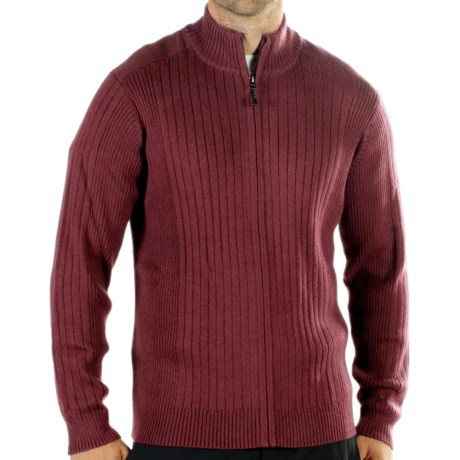 ExOfficio Venture Wool Cardigan Sweater - Merino Wool, Zip (For Men) in Wine