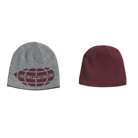 ExOfficio Venture Wool Globe Beanie Hat- Reversible, Merino Wool (For Men) in Wine