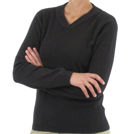 ExOfficio Venture Wool Sweater - V-Neck, Long Sleeve (For Women) in Black