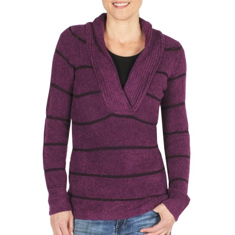 ExOfficio Vona Sweater - Shawl Collar (For Women) in Plum/Dark Thistle
