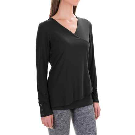 ExOfficio Wanderlux Crossfront Shirt - Long Sleeve (For Women) in Black - Closeouts