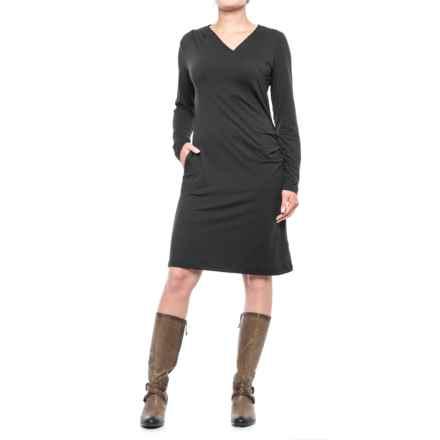 ExOfficio Wanderlux Draped Dress - UPF 30, Long Sleeve (For Women) in Black - Closeouts