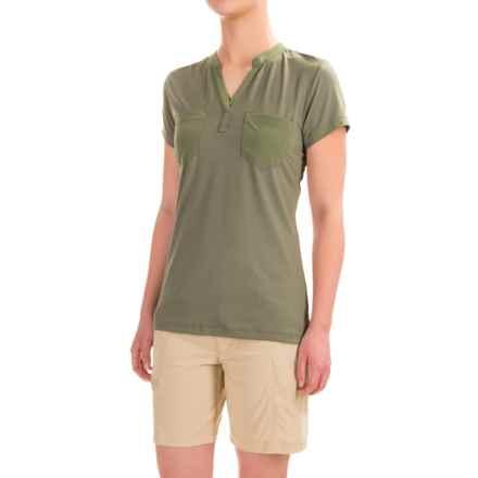 ExOfficio Wanderlux Henley Shirt - UPF 30, Short Sleeve (For Women) in Bay Leaf - Closeouts