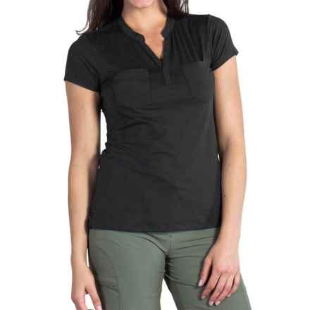 ExOfficio Wanderlux Henley Shirt - UPF 30, Short Sleeve (For Women) in Black - Closeouts