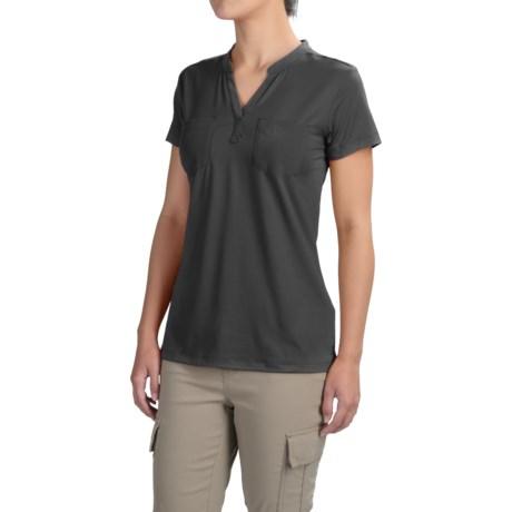 ExOfficio Wanderlux Henley Shirt - UPF 30, Short Sleeve (For Women) in Black