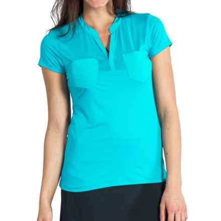 ExOfficio Wanderlux Henley Shirt - UPF 30, Short Sleeve (For Women) in Deep Sea - Closeouts