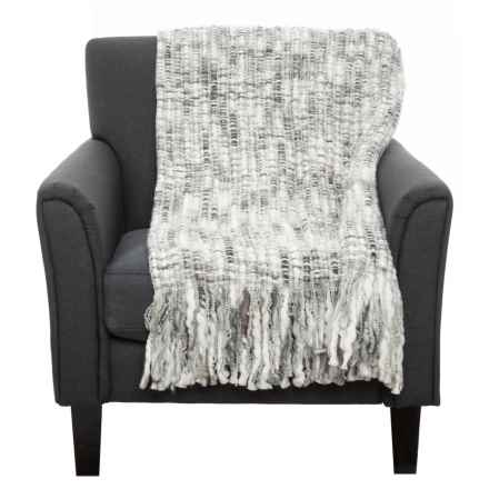 "Exotic India Chunky Woven Throw Blanket - 50x60"" in Grey Multi - Closeouts"