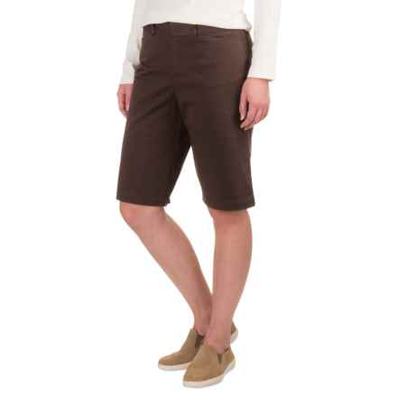 Extended Tab Twill Shorts - Flat Front (For Women) in Coffee - 2nds