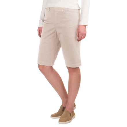 Extended Tab Twill Shorts - Flat Front (For Women) in Stone - 2nds