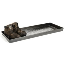 "Extra Weave USA Rectangular Boot Tray - 34x14x2"", Galvanized Iron in Chevron Parquet Zinc - Closeouts"
