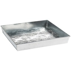 Extra Weave USA Square Boot Tray - Galvanized Aluminum in Basket Weave