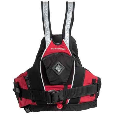 Extrasport Pro Creeker Kayak Rescue Type V PFD Life Jacket in Red/Black - Closeouts