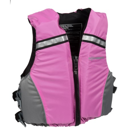 Extrasport Volks Jr. PFD Life Jacket - USCG Approved (For Youth) in Pink/Grey
