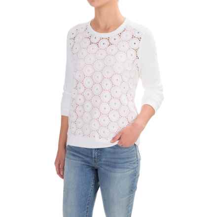 Eyelet Overlay French Terry Sweatshirt (For Women) in White - 2nds