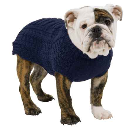 Fab Dog Chunky Sweater in Navy - Closeouts