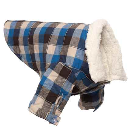 fabdog Check Button-Down Dog Shirt Jacket - Large in Blue - Closeouts