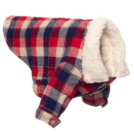 fabdog Check Button-Down Dog Shirt Jacket - Small/Medium in Red/Black - Closeouts