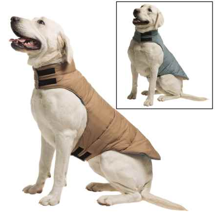 fabdog Peace Puffer Vest - Reversible in Camel/Grey - Closeouts
