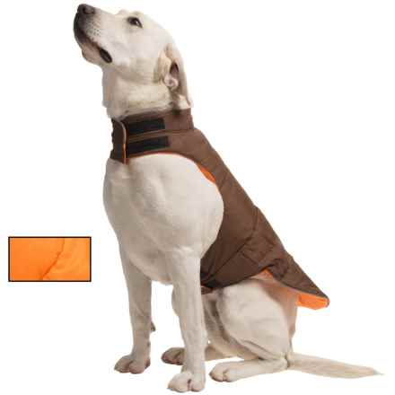fabdog Peace Puffer Vest - Reversible in Orange/Brown - Closeouts
