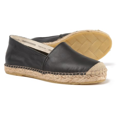 Fabiolas Made in Spain Flat Leather Espadrilles (For Women) in Black