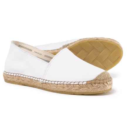 Fabiolas Made in Spain Flat Leather Espadrilles (For Women) in Blanco - Closeouts