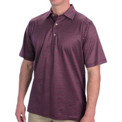 Fairway & Greene Aberdeen Stripe Lisle Cotton Polo Shirt - Short Sleeve (For Men) in Bitters