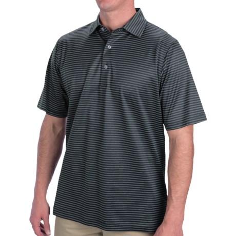 Fairway & Greene Aberdeen Stripe Lisle Cotton Polo Shirt - Short Sleeve (For Men) in Navy