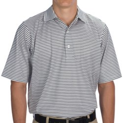 Fairway & Greene Aberdeen Stripe Lisle Cotton Polo Shirt - Short Sleeve (For Men) in White