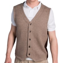 Fairway & Greene Cashmere Sweater Vest - Button Front (For Men) in Tan Multi/Dark Brown - Closeouts