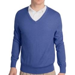 Fairway & Greene Classic V-Neck Sweater - Merino Wool (For Men) in Heathered Blue