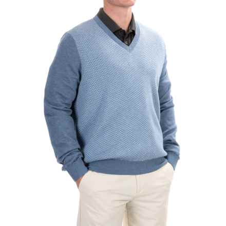 Fairway & Greene Herringbone Wind Sweater - V-Neck (For Men) in Dark Chambray Blue Heather - Closeouts
