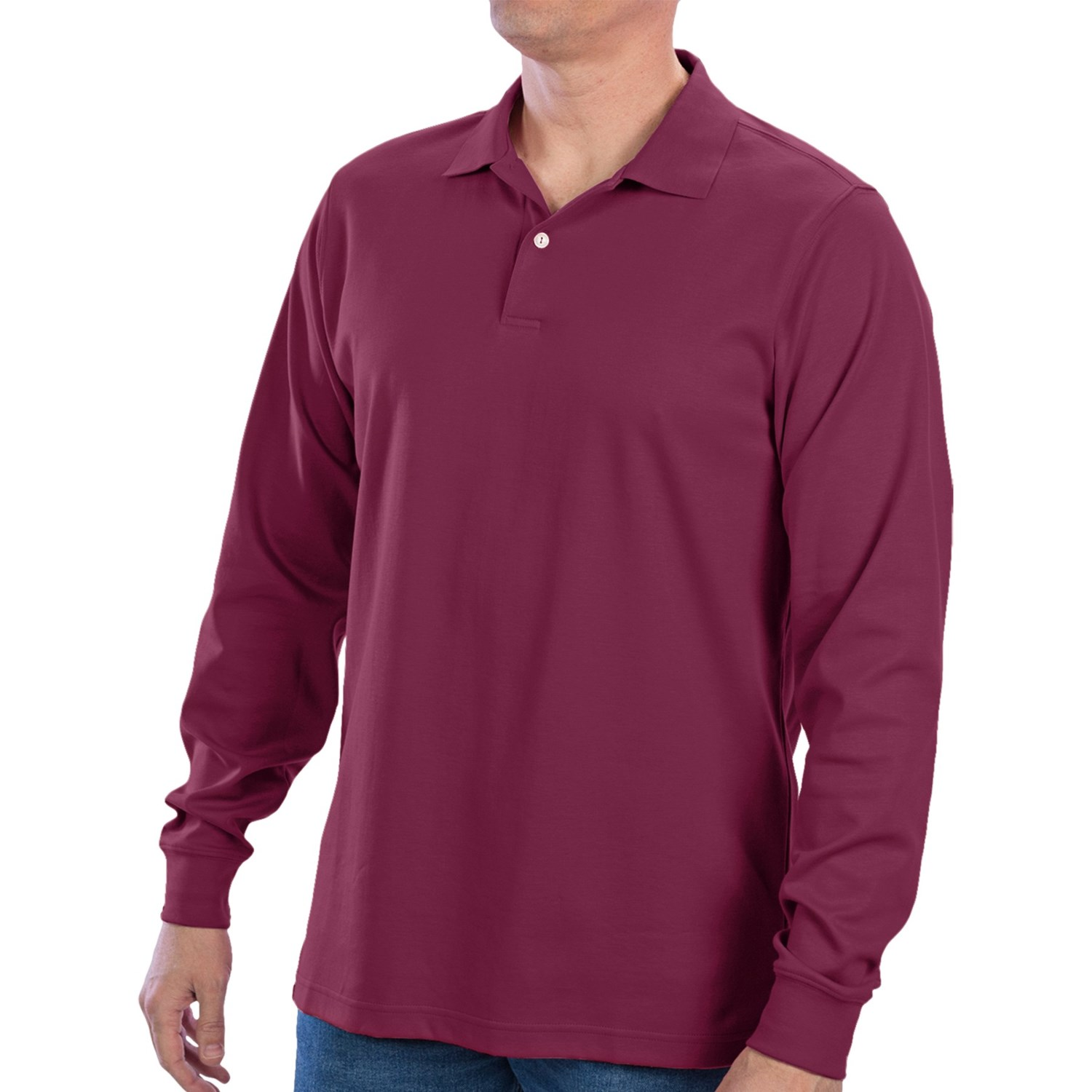 Long Sleeve Cotton Polo Shirts For Mens