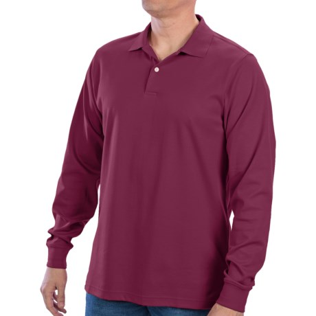 Fairway & Greene Interlock Cotton Polo Shirt - Long Sleeve (For Men) in Grenadine