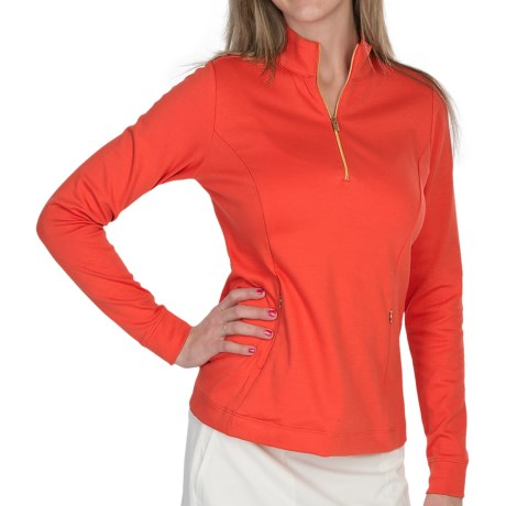 Fairway & Greene Jenna Pima Golf Pullover - Zip Neck, Long Sleeve (For Women) in Cosmo Red