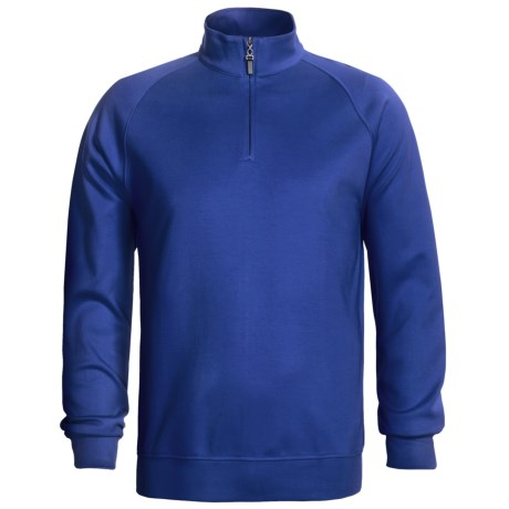 Fairway & Greene Lux Interlock Pullover - Zip Neck, Long Sleeve (For Men) in Blue
