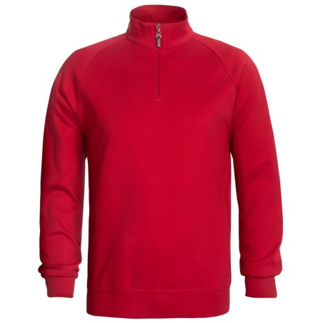 Fairway & Greene Lux Interlock Pullover - Zip Neck, Long Sleeve (For Men) in Red