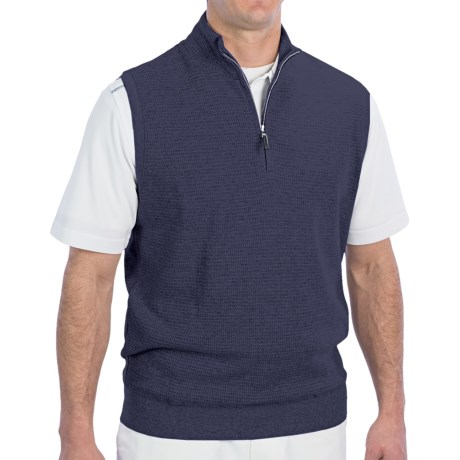 Fairway & Greene Luxe Touch Vest - Zip Neck (For Men) in Silver Heather