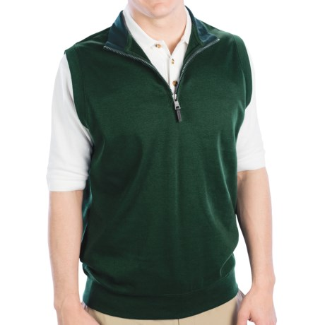 Fairway & Greene LUXURY INTERLOCK 1/4 ZIP VEST W/ CONTRAST COLLAR (For Men) in Bottle