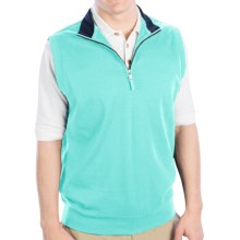 Fairway & Greene LUXURY INTERLOCK 1/4 ZIP VEST W/ CONTRAST COLLAR (For Men) in Crystal Springs - Closeouts