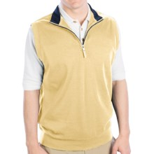 Fairway & Greene LUXURY INTERLOCK 1/4 ZIP VEST W/ CONTRAST COLLAR (For Men) in Pale Moon - Closeouts