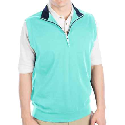 Fairway & Greene Luxury Interlock Vest - Zip Neck (For Men) in Crystal Springs - Closeouts