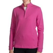 Fairway & Greene Luxury Pullover Sweater - Pima Cotton, Zip Neck, Long Sleeve (For Women) in Hot Pink - 2nds