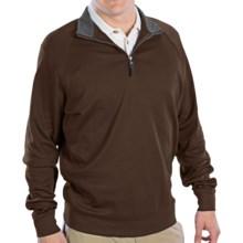 Fairway & Greene Luxury Shirt - Interlock Cotton, Zip Neck, Long Sleeve (For Men) in Espresso - Closeouts