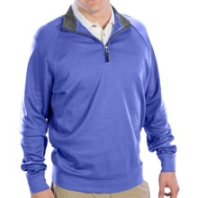 Fairway & Greene Luxury Shirt - Interlock Cotton, Zip Neck, Long Sleeve (For Men) in Wave/Shadow Grey Heather - Closeouts